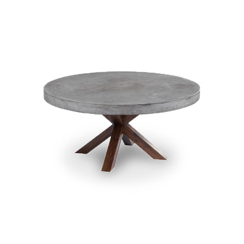 Round Modern Concrete Dining Table with Espresso Acacia Wood Base