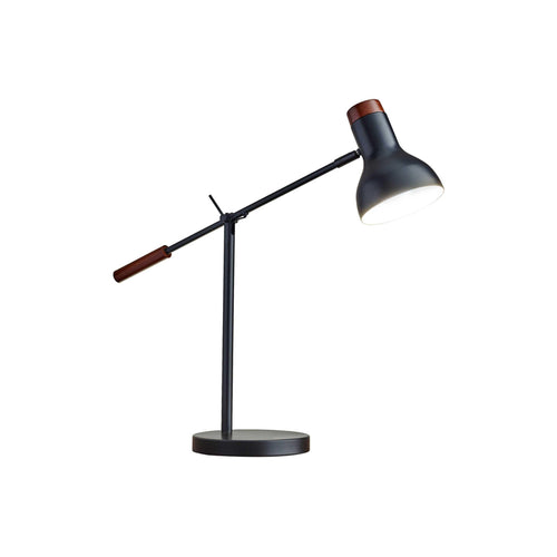 Matte black modern desk lamp with dark wood accents