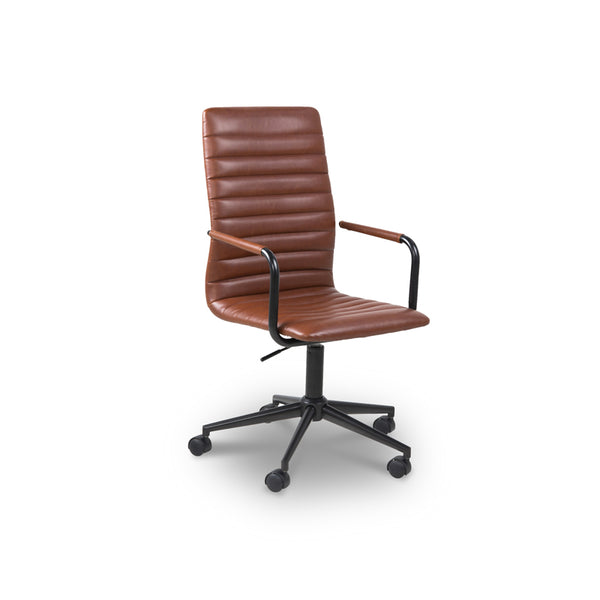 Brown modern leather swivel office chair