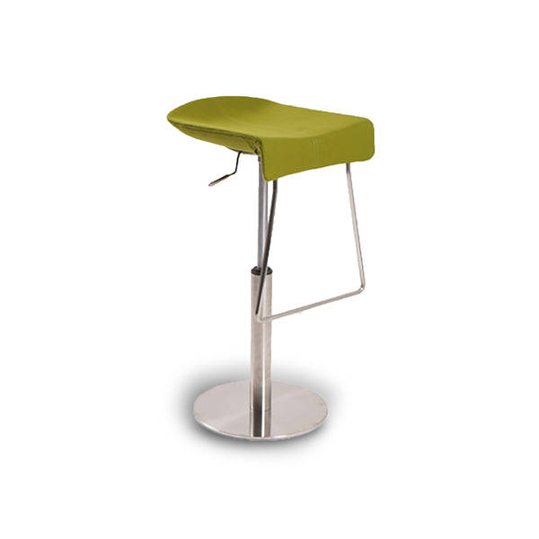 Green modern fabric bar stool with adjustable brushed chrome base