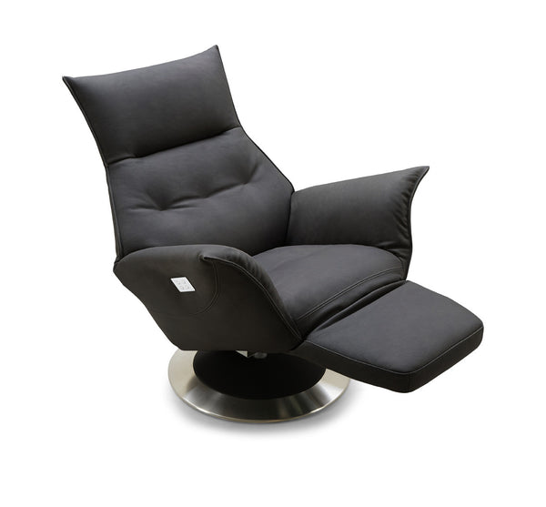 Blue modern leather power reclining chair