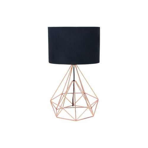Modern copper wire table lamp with black shade
