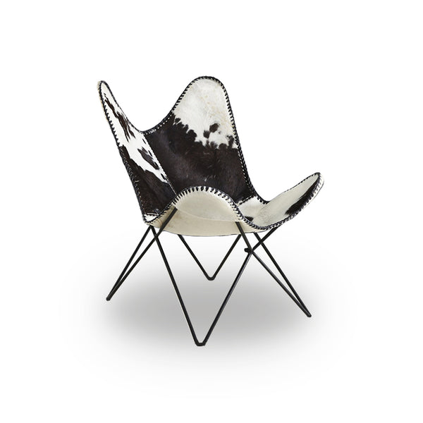 Black and white hide modern butterfly accent chair with black metal frame