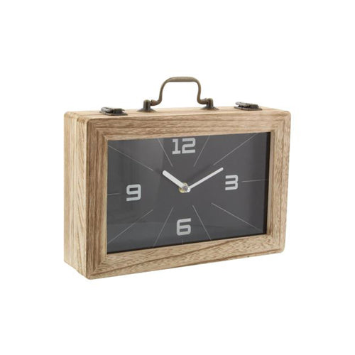 Wood box clock with handle