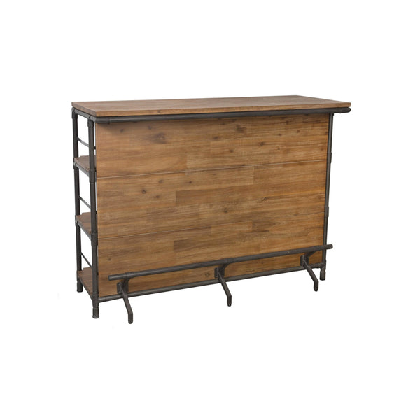 Rustic Modern Acacia Wood Bar with Metal Pipe Frame, Back