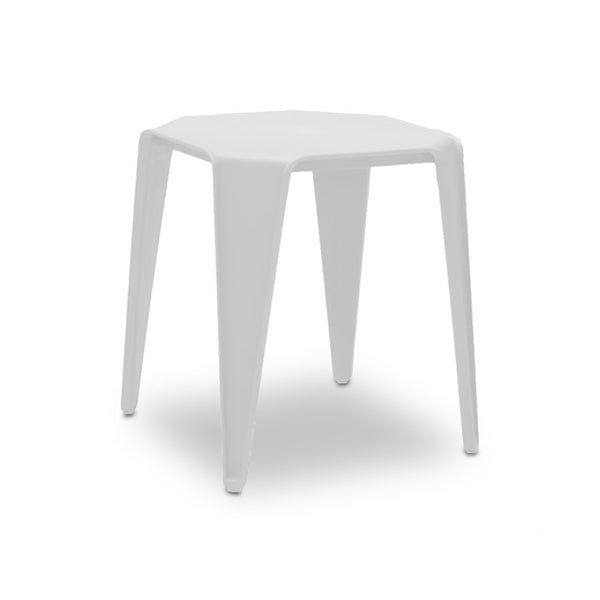 White modern plastic outdoor end table