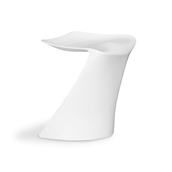 White modern fibreglass outdoor dining chair