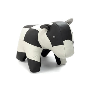 Black and white modern leather cow ottoman