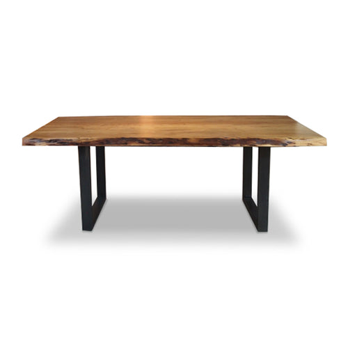 Modern live edge acacia wood table with black metal legs