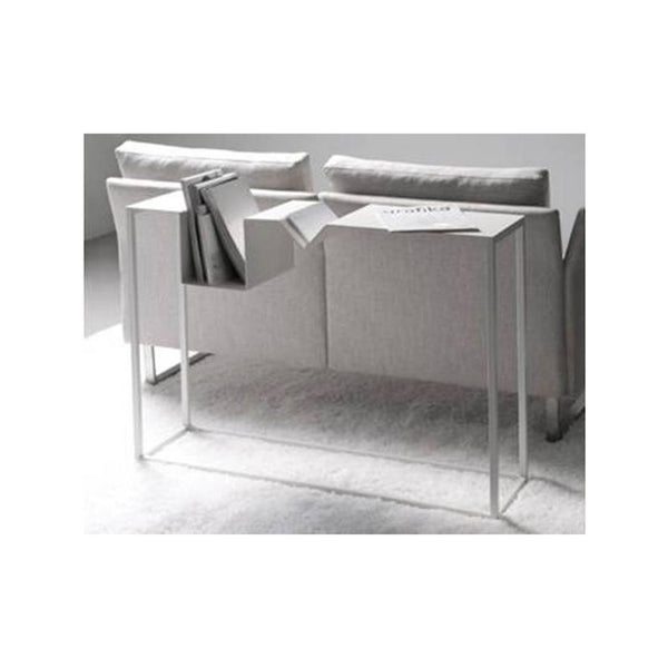 White modern metal console table