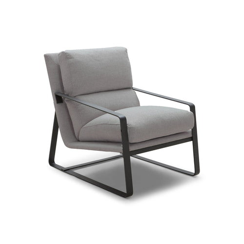 Grey modern upholstered arm chair with black metal frame