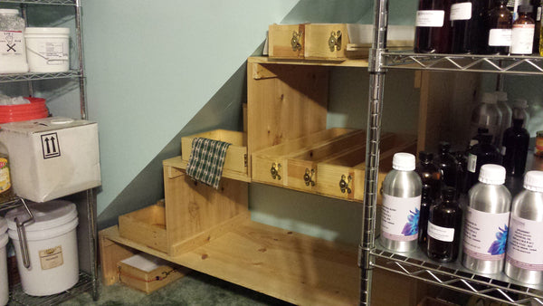 Finished shelves with soap molds. A place for everything and everything in it's place.