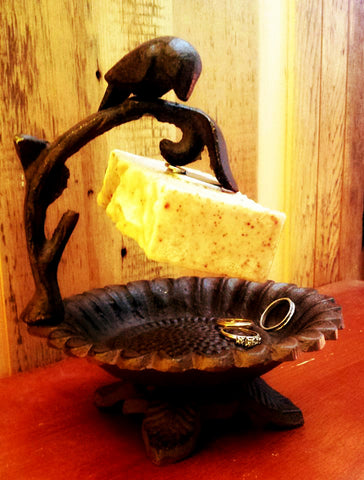 Magnetic Soap Holder/Cast Iron Flower Dish with Bird