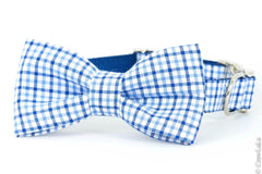 Crew LaLa Light Blue & Navy Gingham Bow Tie Dog Collar