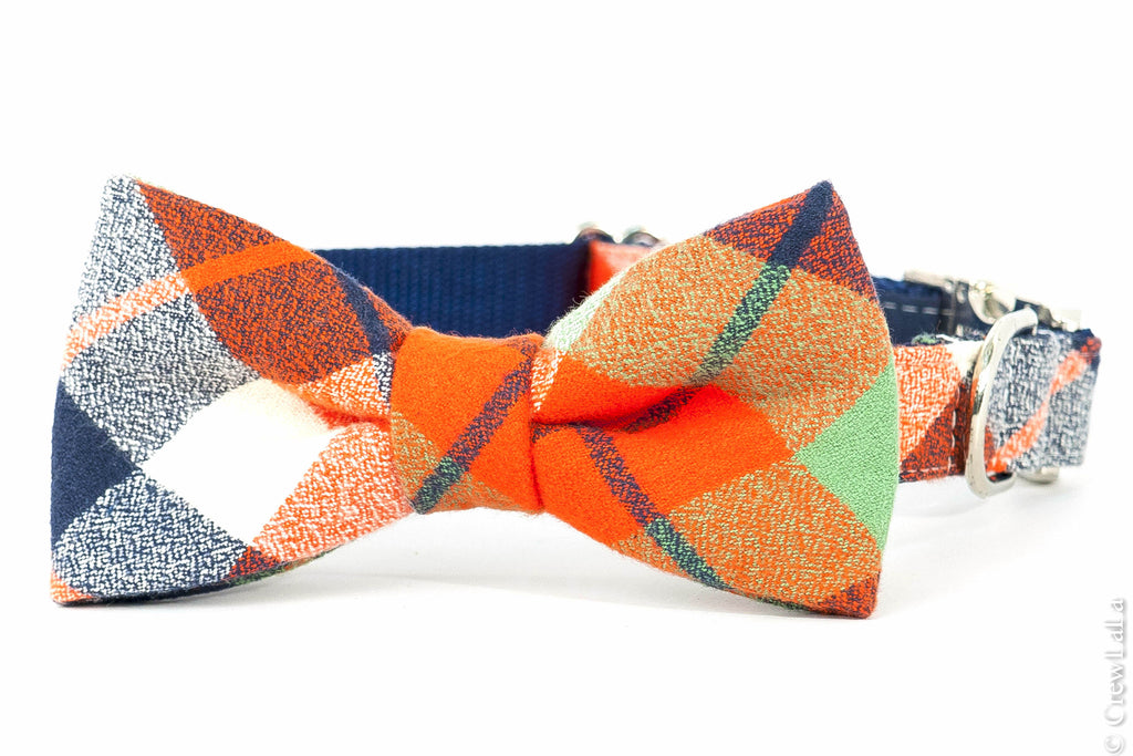 Adventure Plaid Flannel Bow Tie Dog Collar