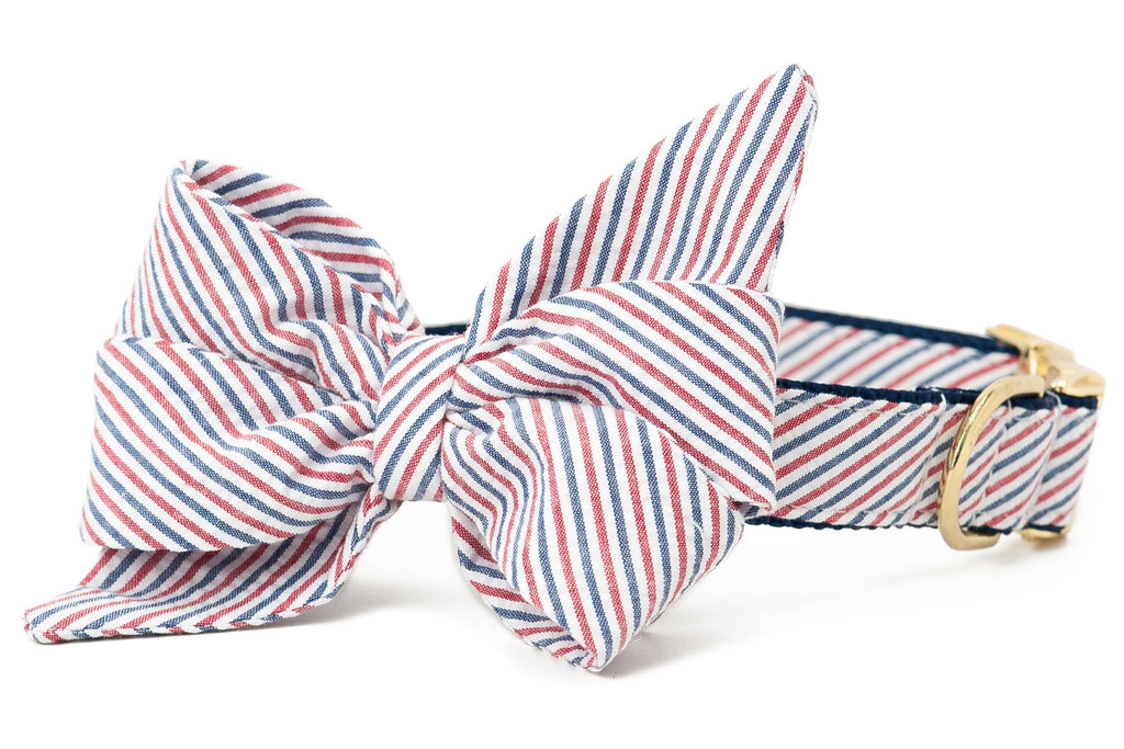 Americana Red & Blue Seersucker Belle Bow™ Collar