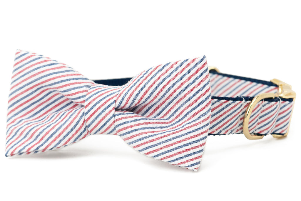 Crew LaLa Americana Red & Blue Seersucker Bow Tie Dog Collar