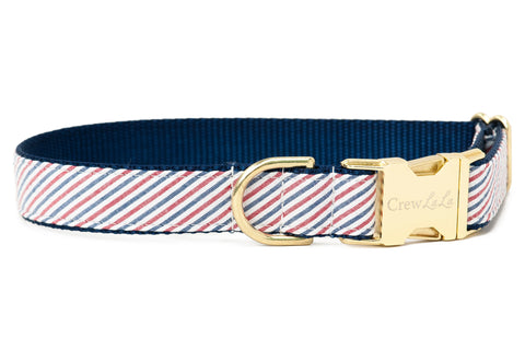 Americana Red & Blue Seersucker Dog Collar