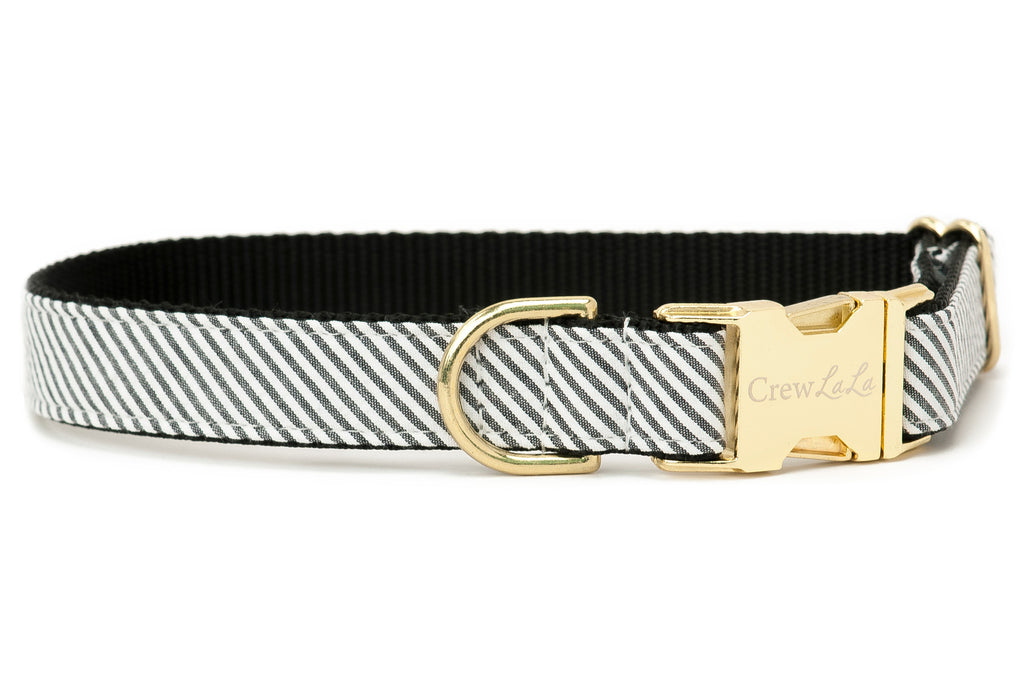 Black Seersucker Dog Collar