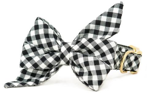 Black Picnic Plaid Belle Bow Dog Collar