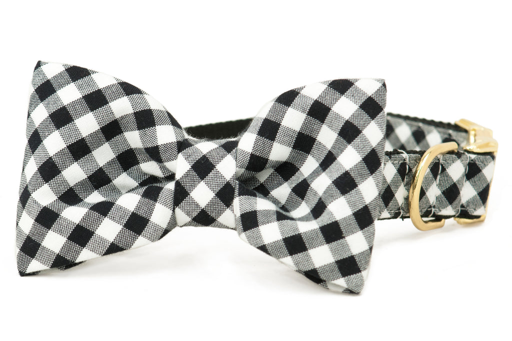 Black & White Buffalo Plaid Bow Tie Dog Collar