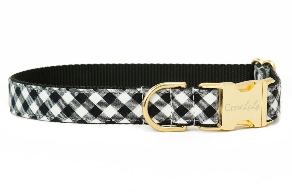 Black & White Buffalo Plaid Dog Collar