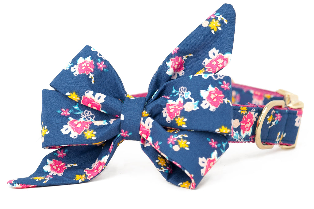 Bohemian Blooms Belle Bow Dog Collar