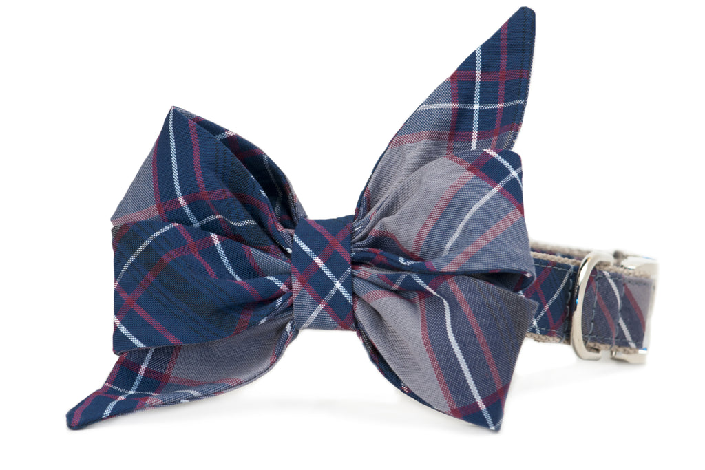 Calhoun Plaid Belle Bow Dog Collar