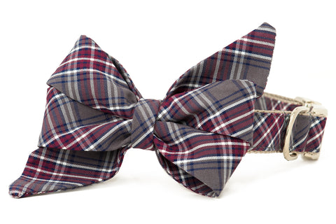 Crimson Plaid Belle Bow Dog Collar