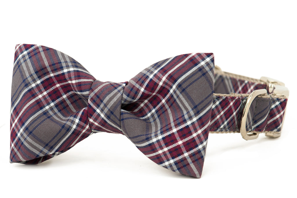 Crimson Plaid Bow Tie Dog Collar