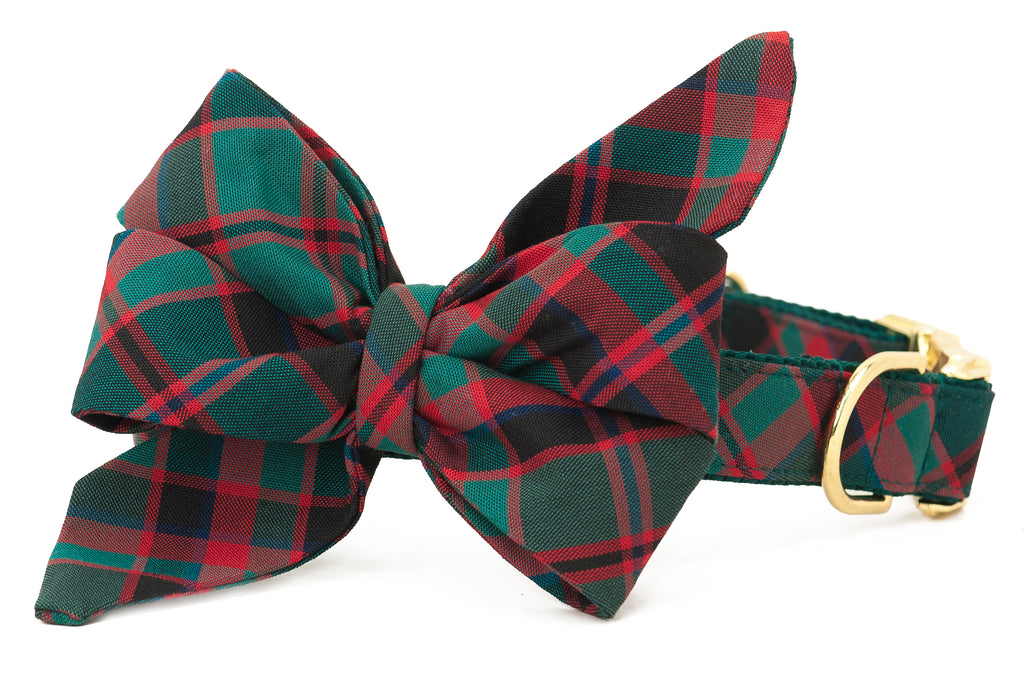 Holiday Plaid Belle Bow Dog Collar