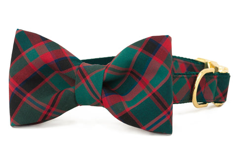 Holiday Plaid Bow Tie Dog Collar