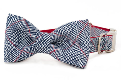 Houndstooth Plaid Bow Tie Dog Collar