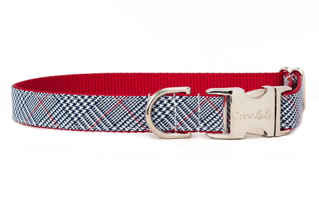 Houndstooth Plaid Dog Collar