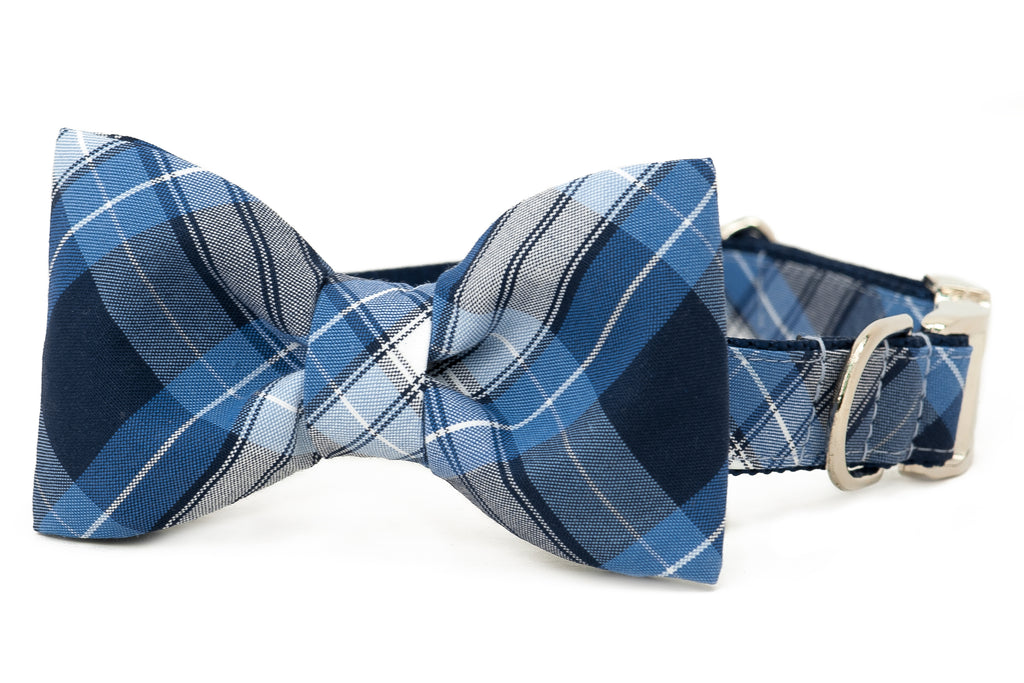 Huger Plaid Bow Tie Dog Collar