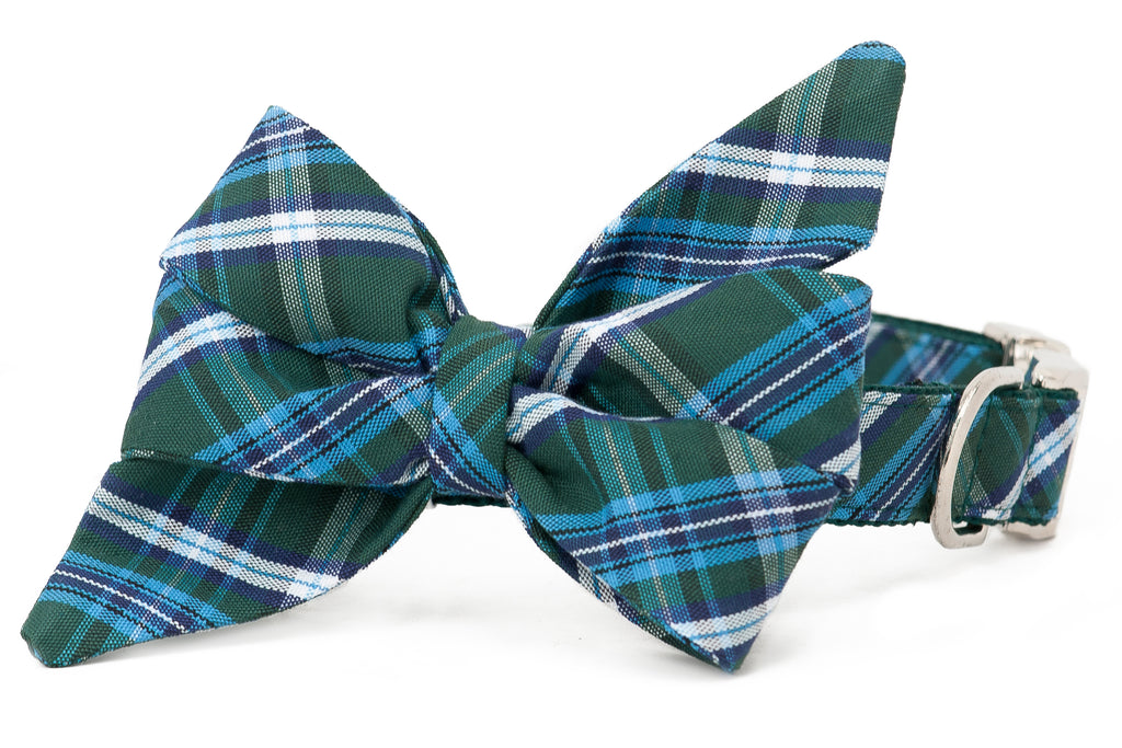 Hunter Plaid Belle Bow Dog Collar