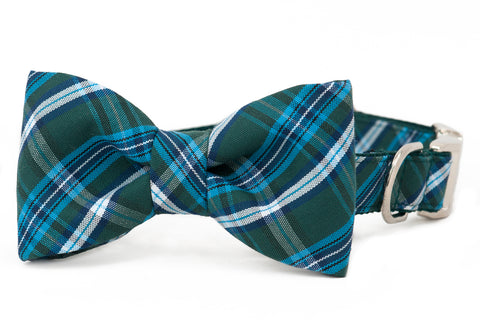Hunter Plaid Bow Tie Dog Collar