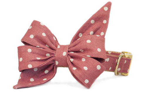 Ivory Dot on Rose Canvas Belle Bow Dog Collar