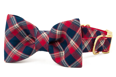 Liberty Plaid Bow Tie Dog Collar