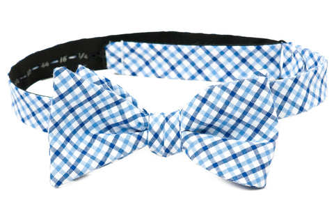 Crew LaLa Light Blue & Navy Gingham Men's Bow Tie