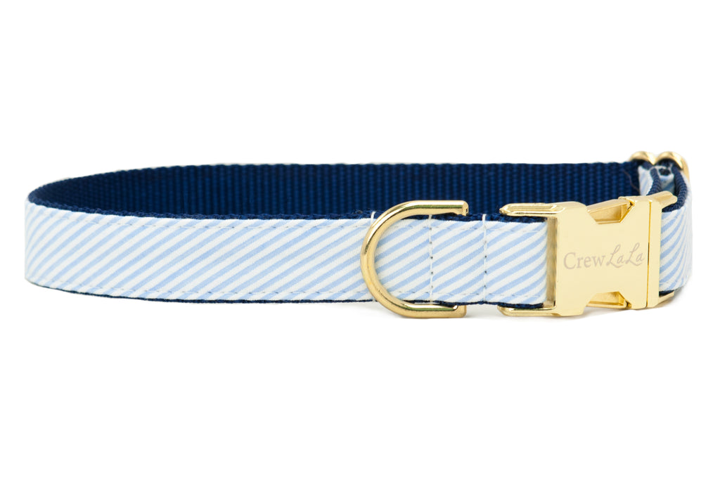 Light Blue Seersucker Dog Collar
