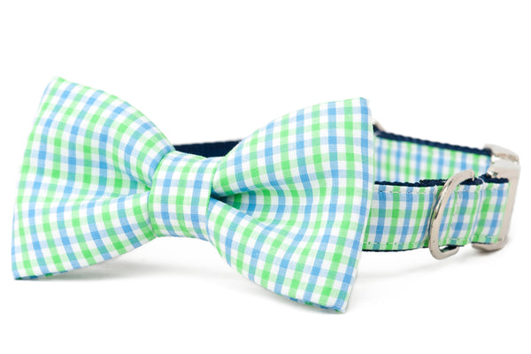Crew LaLa Lime & Blue Island Gingham Bow Tie Dog Collar