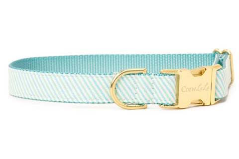 Mint & Blue Seersucker Dog Collar
