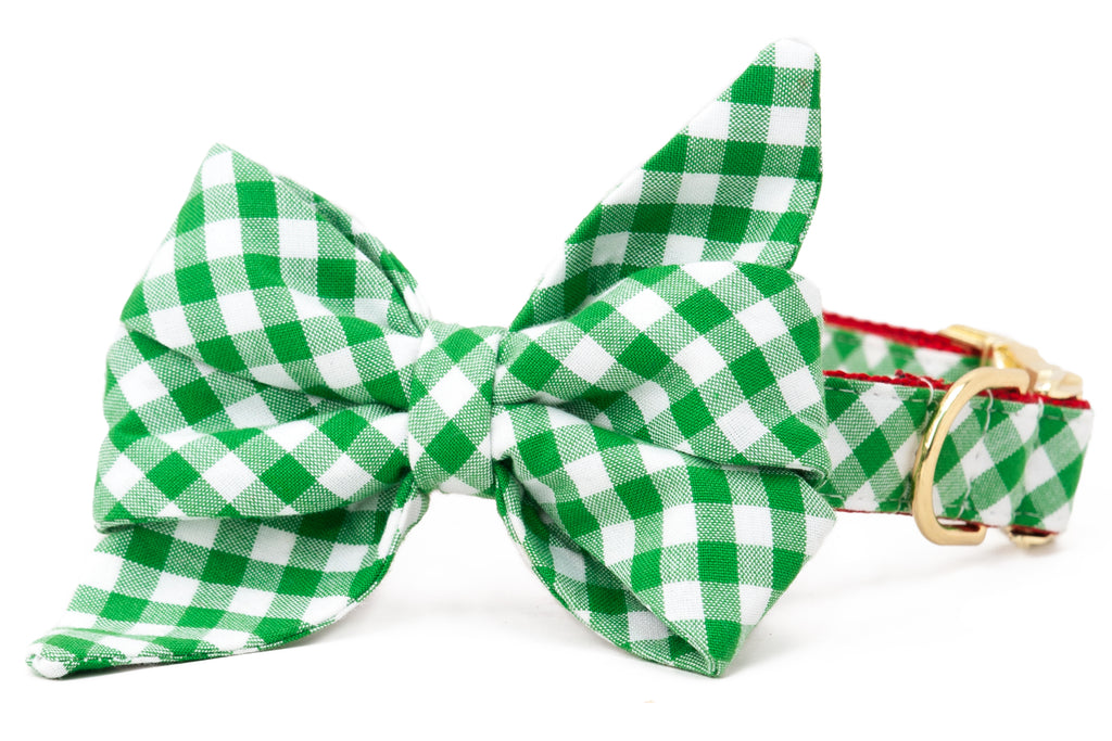 Green Holiday Picnic Plaid Belle Bow™ Dog Collar