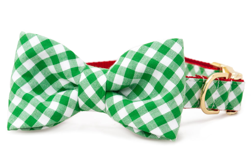 Green Holiday Picnic Plaid Bow Tie Dog Collar
