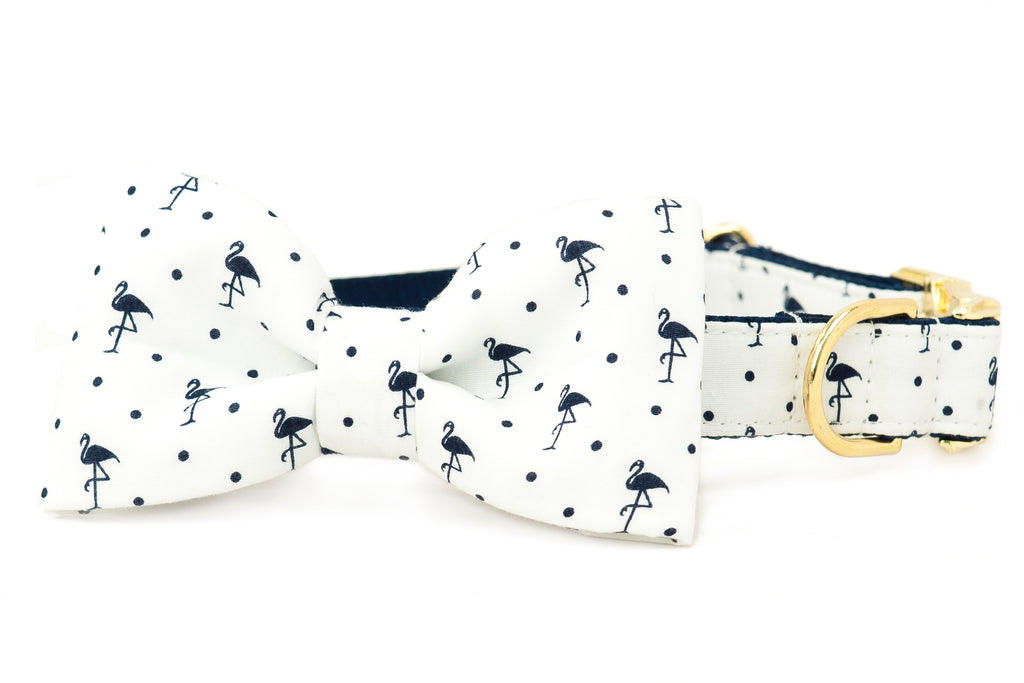 Navy Flamingos on White Bow Tie Dog Collar