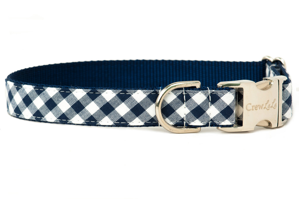 Crew LaLa Navy Picnic Plaid Dog Collar
