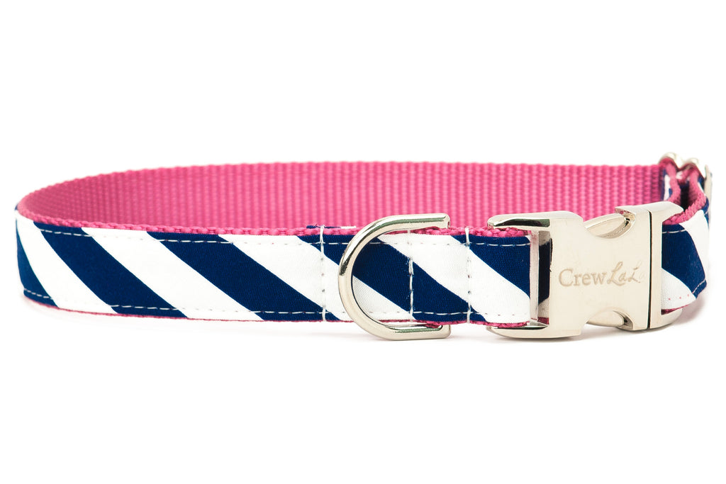 Navy Stripe On Rose Dog Collar