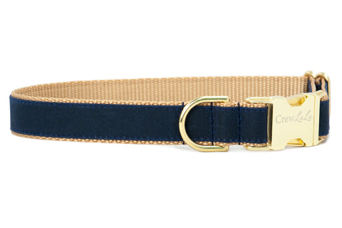 Navy Waxed Cotton on Gold Cotton Dog Collar