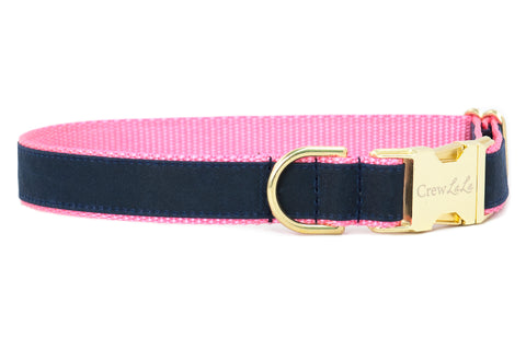 Navy Waxed Cotton on Hot Pink Cotton Dog Collar